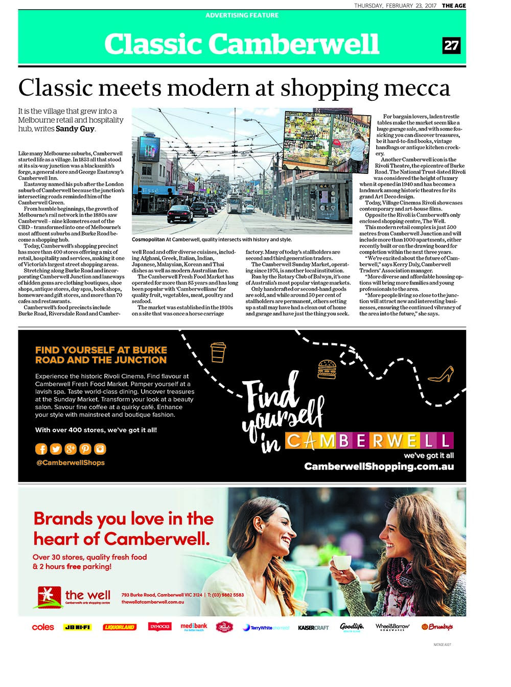 Camberwell ad feature for Wednesday's edition of The Age.